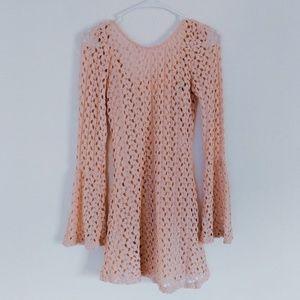 Light Pink Crochet Dress with Bell Sleeves